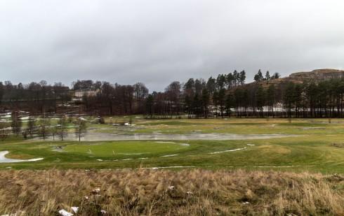 Bilder fra golfbanen på Risum etter regnværet de to siste dagene