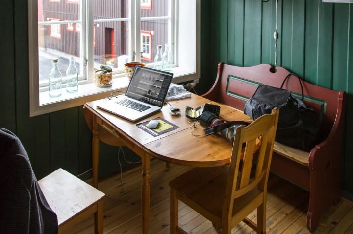 Morgen på Erzscheidergården hotell på Røros.