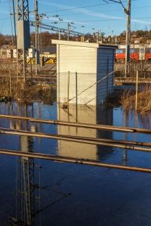 Det har vært høyvann i byen i natt. Rester etter stormen Urd.
